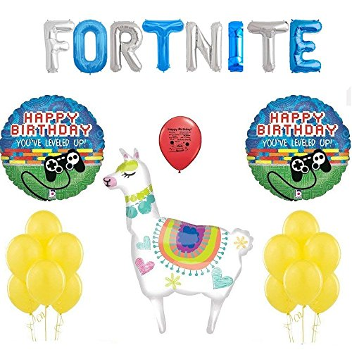 Fortnite Party Supplies Birthday Gamers Balloon and Banner Party Decor Deluxe Set