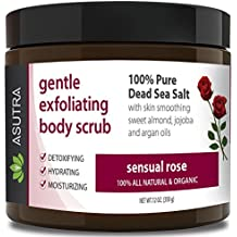 "ASUTRA Organic Exfoliating Body Scrub -""SENSUAL ROSE"" - 100% Pure Dead Sea Salt Scrub/Ultra Hydrating & Moisturizing with SKIN SMOOTHING Jojoba, Sweet Almond & Argan Oils - 12oz…"