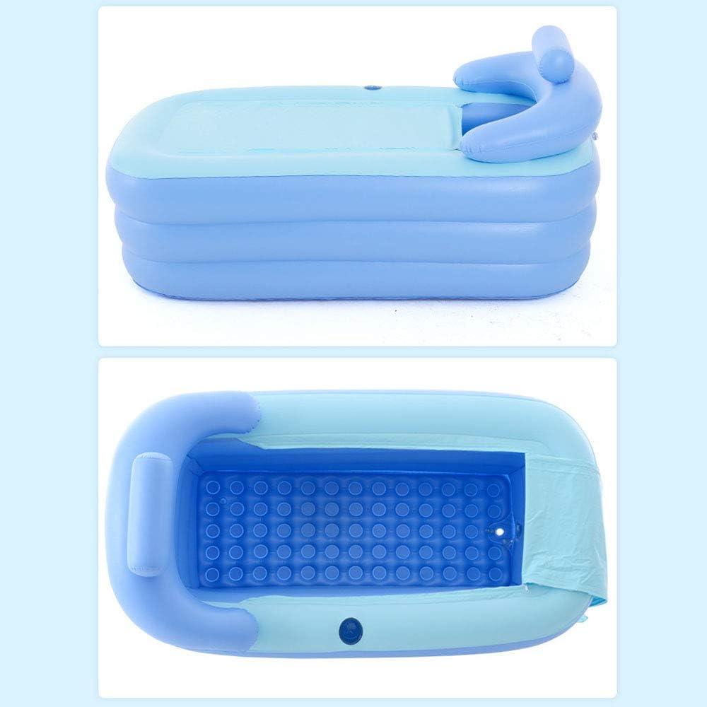 LTQ Vapor Inflatable Bathtub Plastic Portable Foldable Bathtub Soaking Bathtub Home SPA Bathtub with Pedal Air Pump Blue