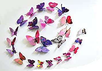 Wonderful Pink And Purple 24PCS 3D Butterfly Wall Stickers Decor Art Decorations 3  Size (purple And