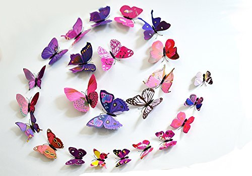Pink and Purple 24PCS 3D Butterfly Wall Stickers Decor Art Decorations 3 size (purple and pink)