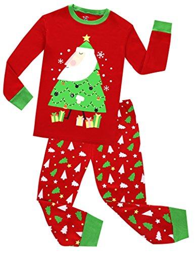 (Boys Girls Christmas Pajamas Set Kids Santa Claus PJS 100% Cotton Toddle Sleepwear)