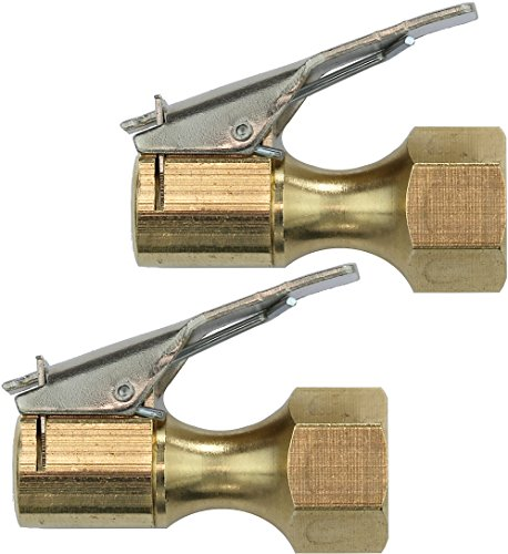 2 Pack - EPAuto Closed Flow Straight Lock-On Air Chuck with Clip, for Tire Inflator