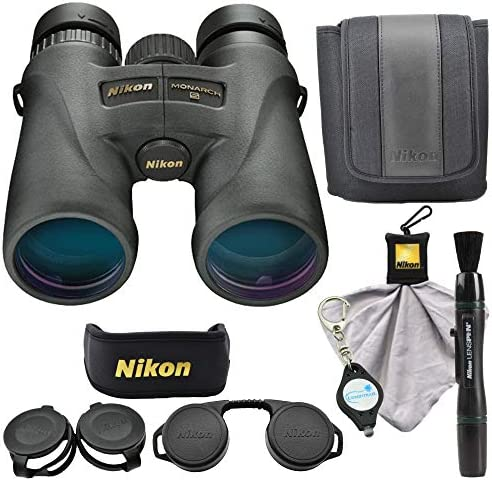 Nikon Monarch 5 8×42 Binoculars 7576 , Black Bundle with a Nikon Cleaning Cloth, Lens Pen and a Lumintrail Keychain Light