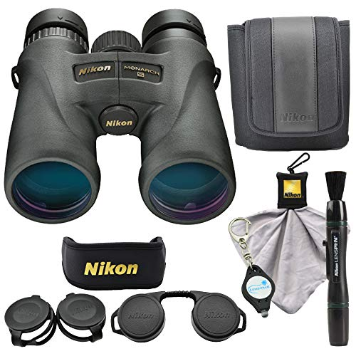 Nikon 7576 Monarch 5 8x42 Binocular Waterproof ED Glass Bundle with Micro Fiber Cleaning Cloth, Lens Pen and Lumintrail Keychain Light