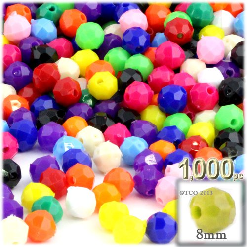 1,000pc Plastic Round Opaque Faceted Beads 8mm Multi Mix (Faceted Plastic Bead Necklace)