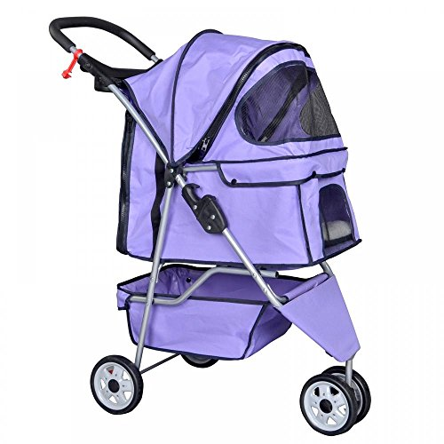 BestPet Purple Pet Stroller Cat Dog Cage 3 Wheels Stroller Travel Folding Carrier ()