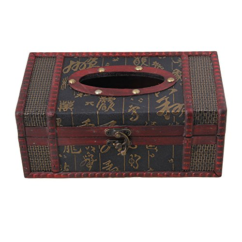 (BQLZR Red Wood Color 22x12x9cm Wooden Antique Tissue Box Cover Chinese Character Pattern Tissue Box Holder )
