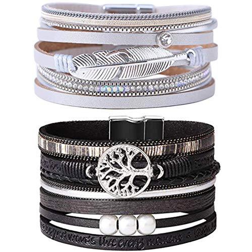 LightOnIt Leather Wrap Boho Bracelet, Multi Strands Wrist Cuff Bangle with Pearls Feather, Handmade Magnet Bohemian Jewelry for Women, Teens Girls- 2pcs