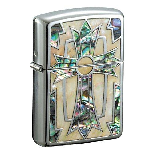 zippo アーマージッポーライター 両面加工 アーマーインレイドシェルグランデA ダイアノシルバー鏡面&両面ホワイトシェル&メキシコ貝象嵌 GRND-CRS   B005MOML4M