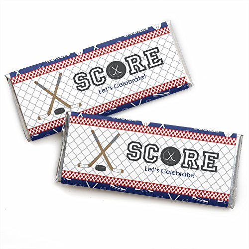 Shoots and Scores - Hockey - Candy Bar Wrappers Baby Shower or Birthday Party Favors - Set of 24
