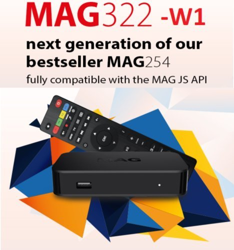MAG 322 W1 IPTV BOX + IN BUILT WIFI + HDMI CABLE + REMOTE + POWER ADAPTER by MAG322-W1