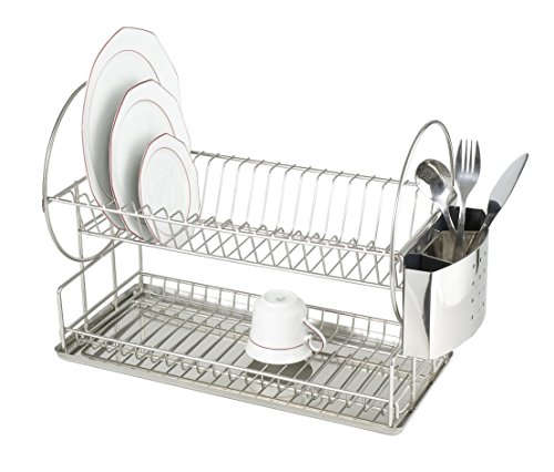 WENKO 2329100 Dish rack Exclusive Duo - drip rack for plates and cups, cutlery basket, drippy tray, Stainless steel, 8.3 x 13 x 19.3 inch, Matt
