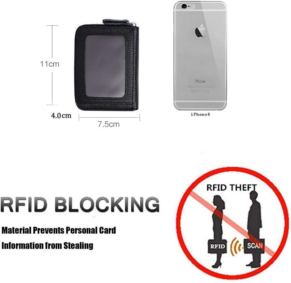 ZhaoCo Zipper Vintage Card Holder Wallet ID Business Card Case Purse Wallet for Men Women Ladies Credit Card Holder RFID Blocking Genuine Leather Black