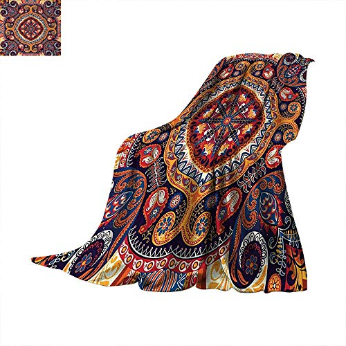 """Anhuthree Paisley Warm Microfiber All Season Blanket Arabic Style Ornamental Rug Pattern Inspired Design with Flowers and Leaves Velvet Plush Throw Blanket 80""""x60"""" Multi Colored"""