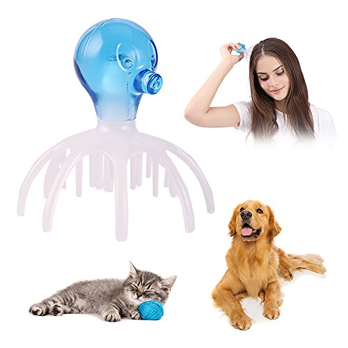Octopus Manual Scalp Massager, Anxiety Relief Comb for People or Pet ( Cats and Dogs with Short or Long Hair ) (blue)