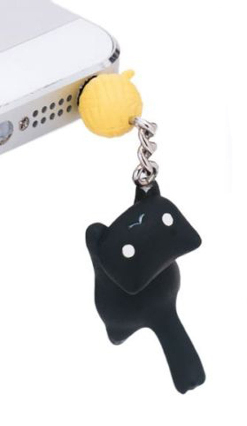 1Pc Cute Cat and Ball 3.5mm Earphone Ear Cap Anti Dust Plug Cover For Cell Phone (Black)