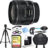 Canon EF 24mm f/2.8 IS USM Lens Deluxe Accessory Bundle includes Lens, 64GB SDXC Memory Card, Tripod, 58mm Filter Kit, Lens Hood, Bag, Cleaning Kit, Beach Camera Cloth and More