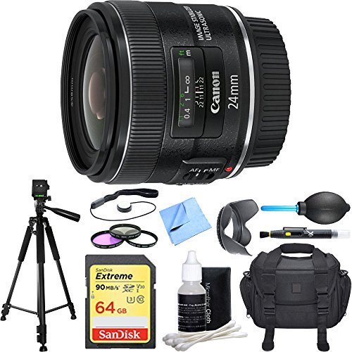 Canon EF 24mm f/2.8 IS USM Lens Deluxe Accessory Bundle includes Lens, 64GB SDXC Memory Card, Tripod, 58mm Filter Kit, Lens Hood, Bag, Cleaning Kit, Beach Camera Cloth and More by Canon