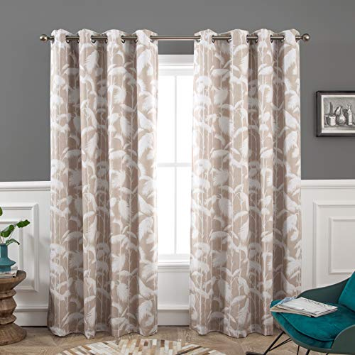 DriftAway Palm Leaves Lined Blackout Room Darkening Grommet Lined Thermal Insulated Energy Saving Window Curtains 2 Layers 2 Panels Each 52 by 84 Inch Beige ()