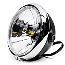 """Krator 6"""" Black w/ Chrome Ring LED Motorcycle Headlight Side Mount Running Light Hi/Lo for Honda VF Magna Stateline 500 700 750 1100"""