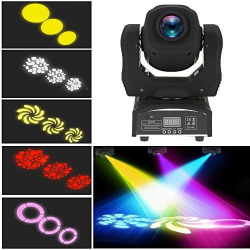 XPC 90W Moving Head Light 8 Gobo Rainbow 8 Colors 9/11 Channels LED Stage Gobo Pattern Lamp for Disco KTV Club Party Wedding (90W-1PCS) ()