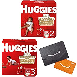 Huggies Little Snugglers Baby Diapers, Size 2, 180 Ct & Size 3, 156 Ct, One Month Supply with Gift Card