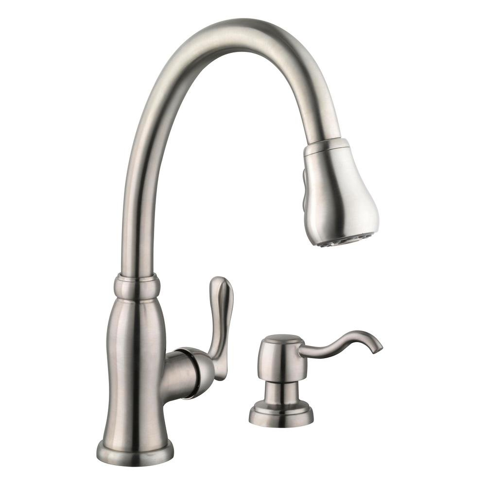 Glacier Bay Pavilion Single-Handle Pull-Down Sprayer Kitchen Faucet with Soap Dispenser in Stainless Steel