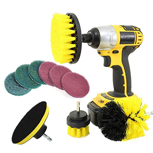 Trkee 10Pcs/Set Tile Grout Power Scrubber Cleaning Drill Brush Kit Scrub Tub Cleaner Tools