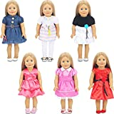 Bememo 6 Set Doll Clothes Outfits Baby Girl Doll Clothes Dress for 18 Inch American Dolls