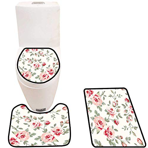 3 Piece Bathroom Contour Rugs Wallpaper with Roses Anti-Slip Water Absorption