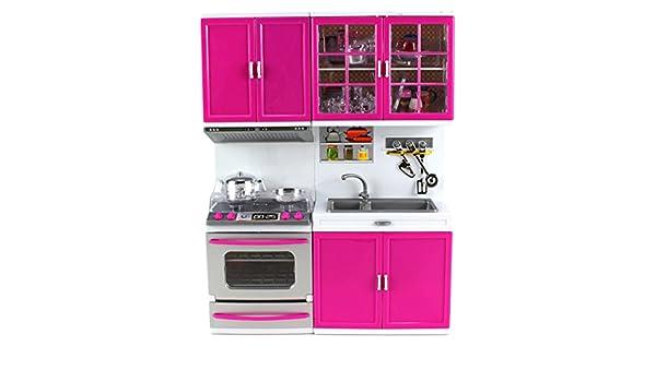 Mi cocina moderna estufa horno fregadero cocina funciona con pilas juguete muñeca de juguete w/luces, sonidos, perfecto para uso con 11 - 12 cm muñecas: ...