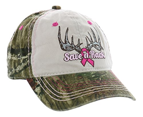 Ladies Camo Cap - Outdoor Cap Women's Camouflage Breast Cancer Awareness Cap, Putty/Mossy Oak Break Up Infinity, Ladies Fit