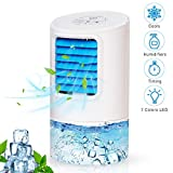 Vidanoble Portable Air Conditioner Fan, Mini Personal Evaporative Air Cooler Small Desktop Cooling Fan with 7 Colors LED Lights, Super Quiet Personal Table Fan Mini Evaporative Air (2019-New White)