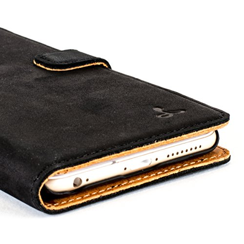 low priced b9706 9c7ff iPhone 6 Plus Case, Snakehive Vintage Collection Apple iPhone 6 Plus Wallet  Case in Nubuck Leather with Credit Card/Note Slot (Black)