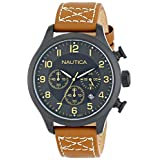 Nautica Men's N16599G BFD 101 Chrono Classic Stainless Steel Watch with Tan Leather Band