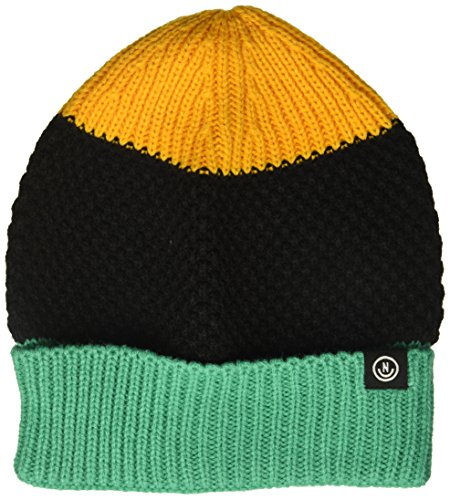 NEFF Men's Scrappy Knit Slouchy Beanie, Gold/Black/Teal, One ()