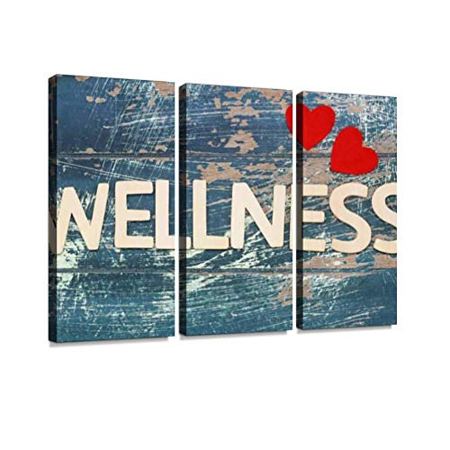Wellness Written with Wooden Letters on Rustic Surface, red Hearts Print On Canvas Wall Artwork Modern Photography Home Decor Unique Pattern Stretched and Framed 3 Piece (Written Letter)