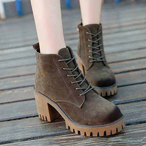 Autumn & Winter Short Booties Sikye Womens Ankle Boots Side Zip Square Heel Martin Boots Shoes Army Green ds1HM