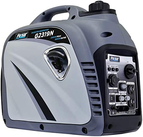 Pulsar G2319N 2,300W Portable Gas-Powered Inverter Generator with USB Outlet Parallel Capability, CARB Compliant, Gray
