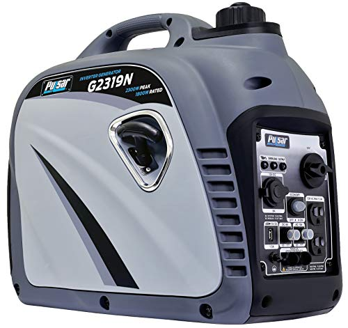 Pulsar G2319N 2,300W Portable Gas-Powered Quiet Inverter Generator With USB Outlet Parallel Capability Carb Compliant, 2300w Gray