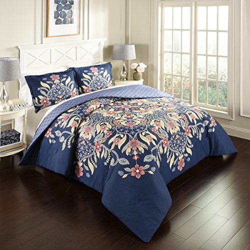 Marble Hill 16755BEDDF/QMUL 3 Piece Floral Fantasy Reversible Comforter Set, Full/Queen, Multicolor