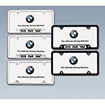 BMW License Plate Frame w/BMW Logo SATIN stainless steel