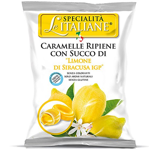 Serra Le Italiane, Italian Natural Hard Candy Filled With Lemon From Siracuse Italy, 3.5 oz
