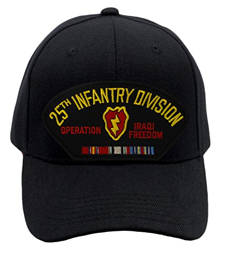 Patchtown 25th Infantry Division - Operation Iraqi Freedom Hat/Ballcap (Black) Adjustable One Size Fits Most (Freedom Ball Iraqi Cap)