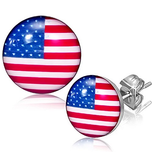 (Stainless Steel Silver-Tone USA American Flag Patriotic Stud)
