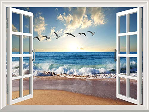 YPY 3D Wall Murals Canvas Stickers Windows Style Removable Decals for Home Decoration (WS05, ()