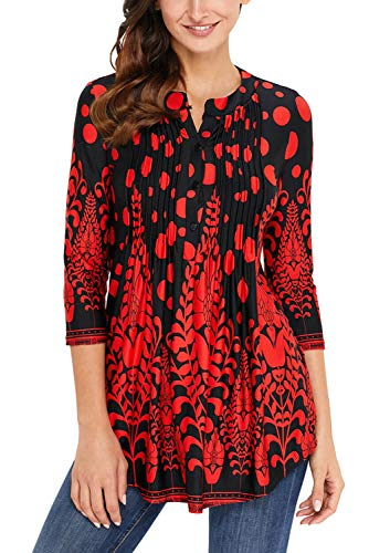 Dokotoo Womens Casual Floral Notch Neck Pin-Tuck Tunic Boho Blouse Top