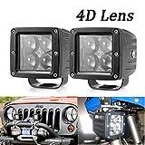 Turbo SII 2Pcs 3x3 inch 16W Led Pods Cube Work Light Spot Beams Fish Eye 4D Lens For Jeep Atv Utv Golf Cart Lighting Trucks Pickup Ford 12V-24V