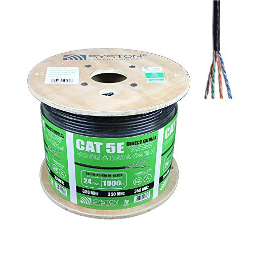 Outdoor // Indoor Heat Resistant Gray by Syston Cable Riser Rated CMR 24AWG Solid 350Mhz Cat5e Bulk Cable 100ft Pure Copper UTP